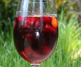 sangria in a wine glass