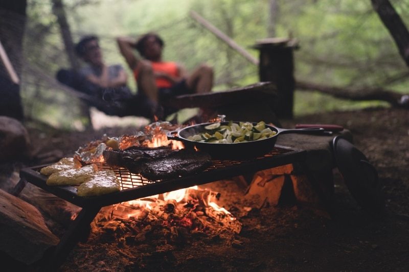Cooking over a fire for full-time RV families