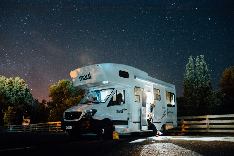 A full-time RV family enjoys a starry night